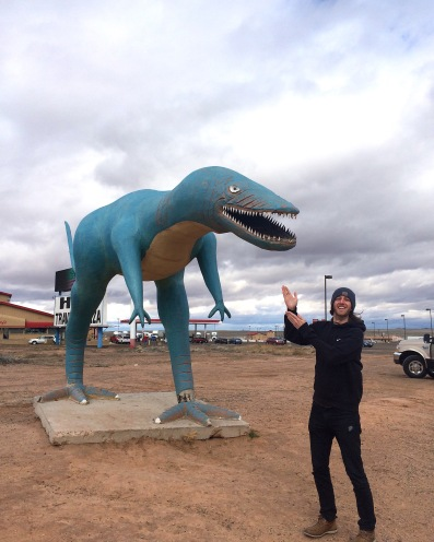 Roadside dinos in front of Hopi Diner!